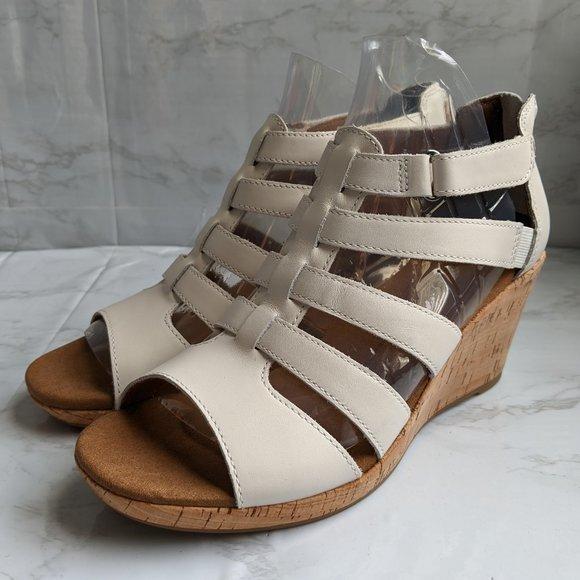 NWOB Rockport white Briah Gladiator Wedge Sandal